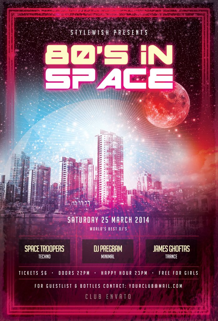 80s In Space Flyer Template