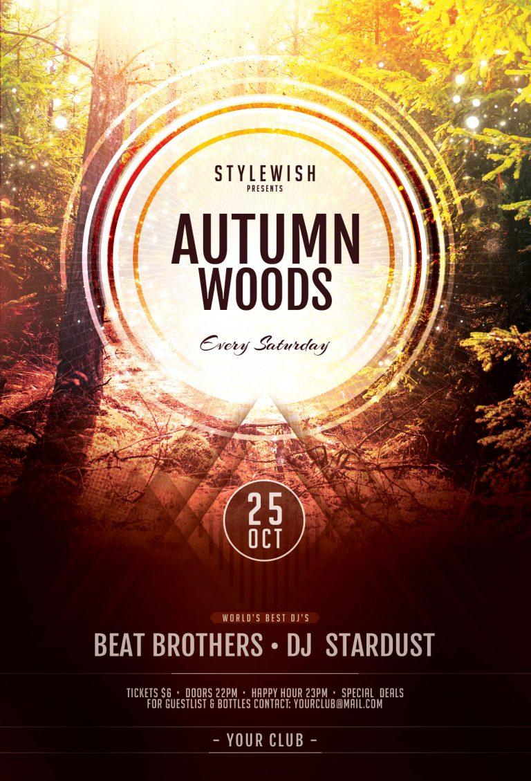 Autumn woods Flyer Template