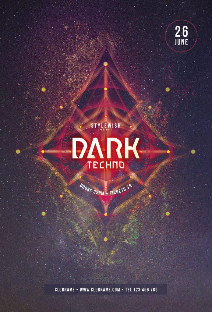 Dark Techno Flyer Template