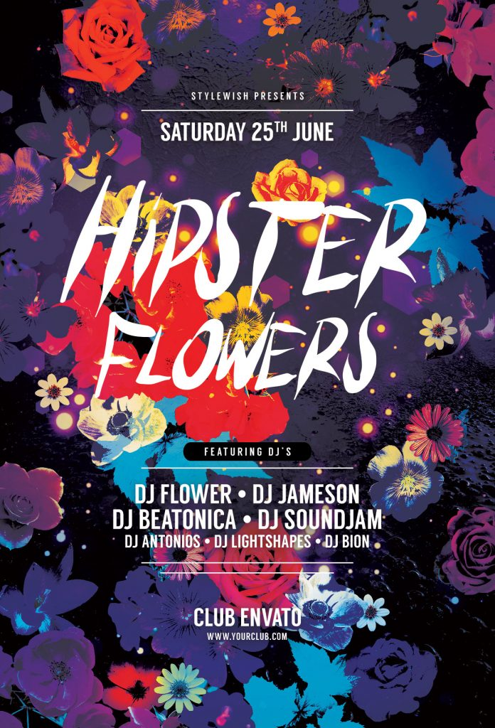 Hipster Flowers Flyer Template