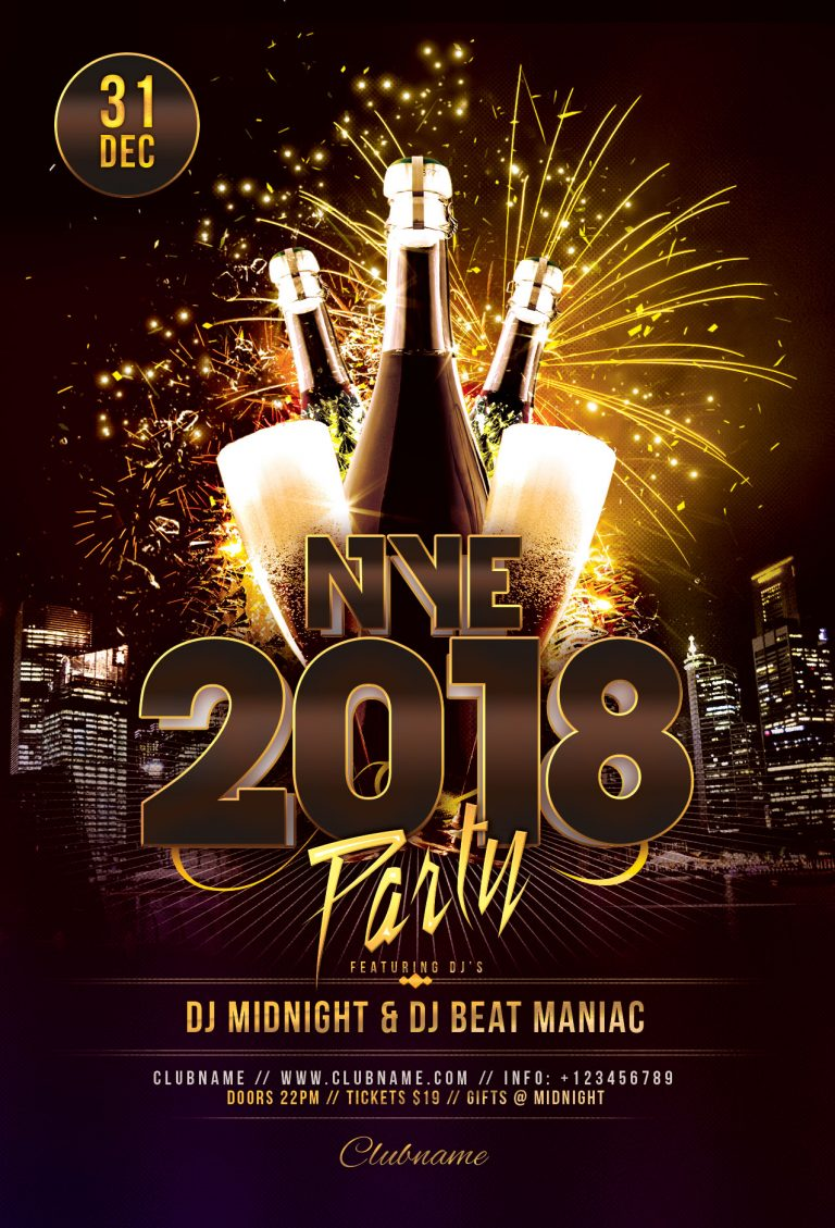 NYE 2018 Party Flyer Template