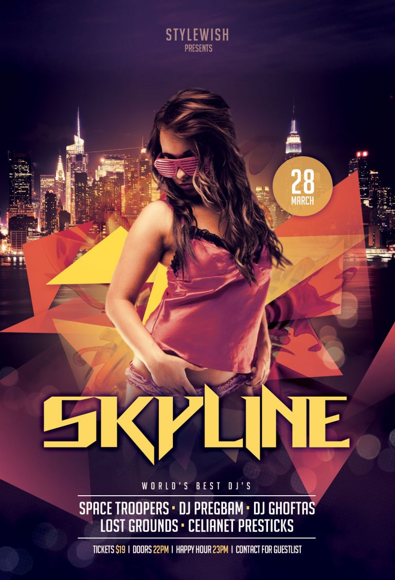 Skyline Party Flyer Template