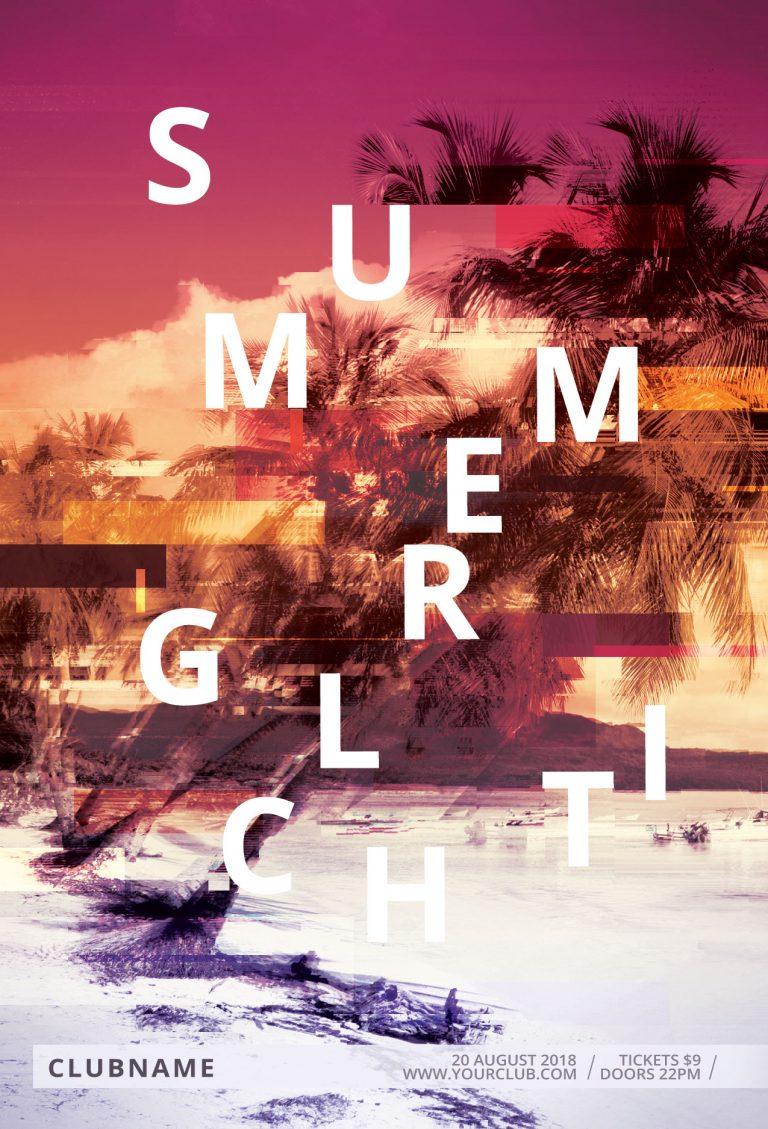 Summer Glitch Flyer Template