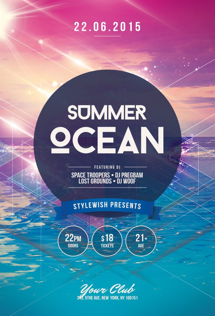Summer Ocean Flyer Template