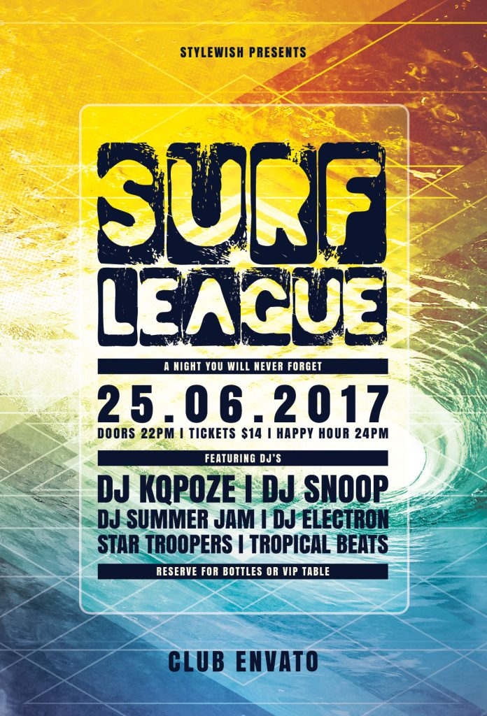 Surf League Flyer Template
