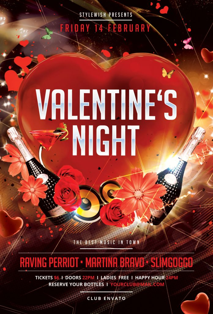 valentine flyer template for photoshop  u2022 stylewish