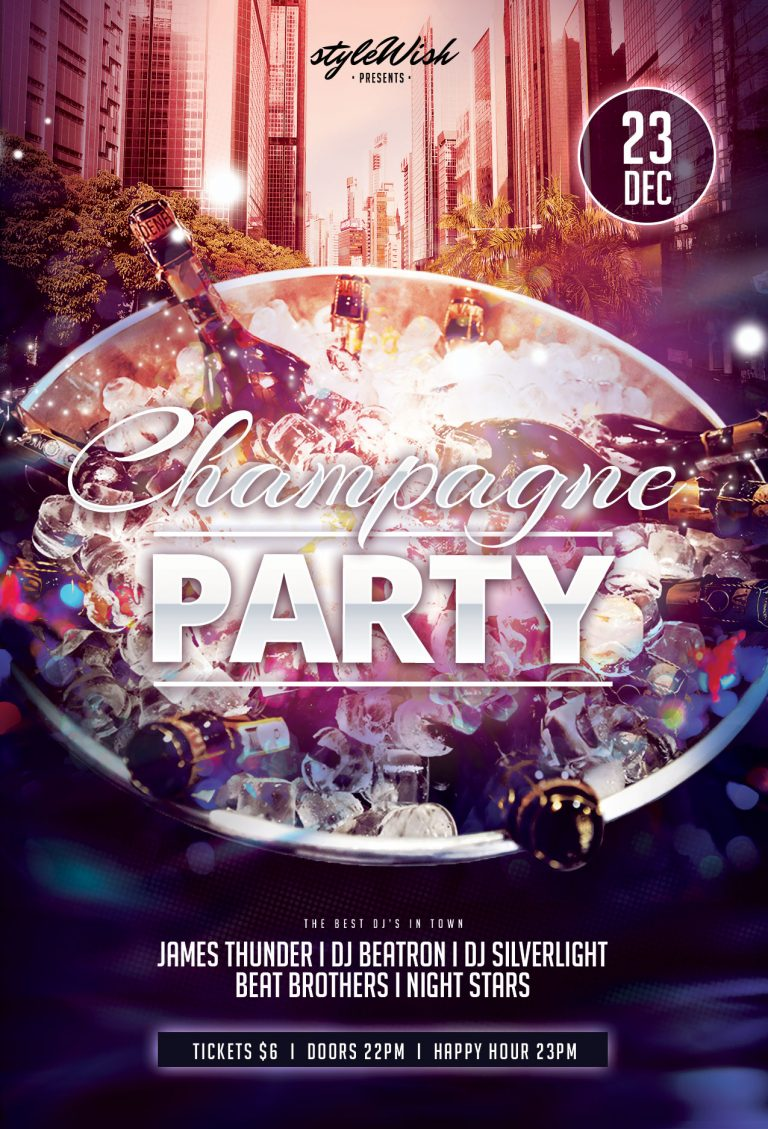 Free Champagne Party Flyer