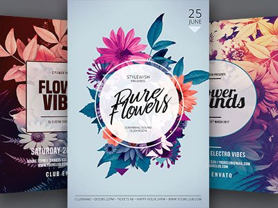 Hipster Flowers Flyer Bundle